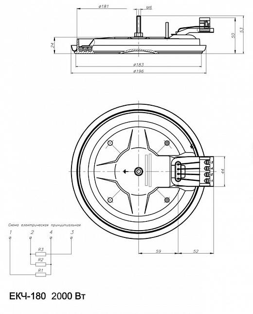 Схема нагревательного элемента плиты